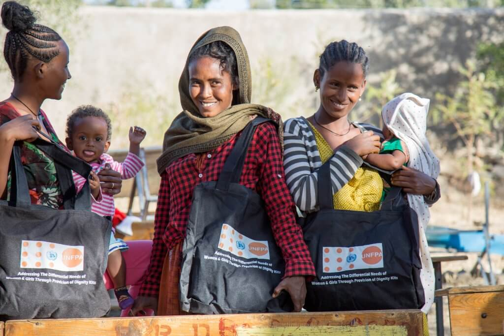 Women in Tigray receive UNFPA dignity kits. Over 26,000 Tigrayans have experienced sexual violence during conflict. UNPFA Ethiopia.